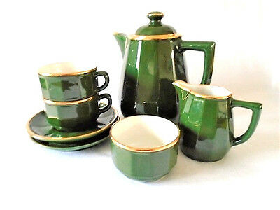 Apilco French Green Gold Bistro Ware Coffee Set For 2 Deshoulieres Design