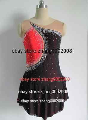 Ice skating Red/black Competition Figure Skating /Baton Twirling dress adult M-L
