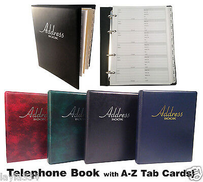 Address & Telephone Book with A-Z Tab Cards available in 4 Colours