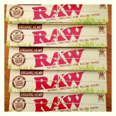 5 RAW Organic King Size Slim Rolling Papers - FREE P&P