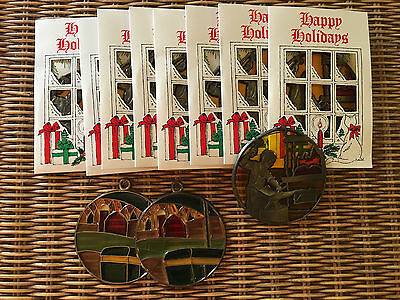 Vintage John Deere Dealer Dated Christmas Stained Glass Ornaments,1987/88