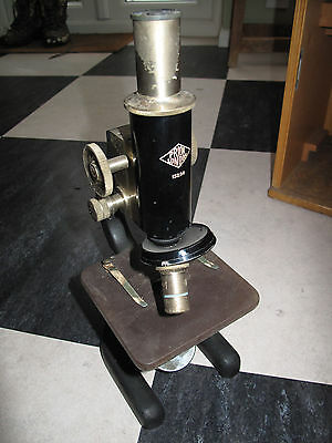 Antique / Vintage Prior of London Microscope - Cast Iron and Brass in Wooden Box