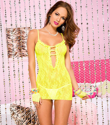 Bright Yellow Stretch Rose Lace Deep V Chemise Sexy Designer Lingerie P56118