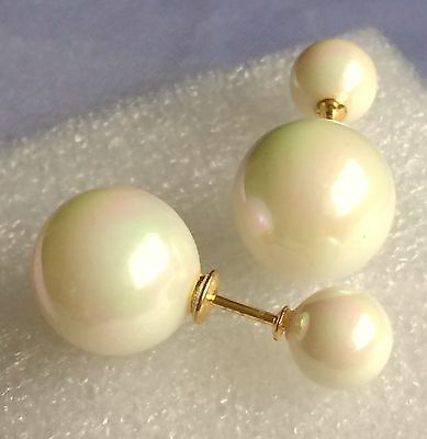 Shell Pearl Double Pearlised Stud Earrings Yellow Gold On 925 Sterling Silver