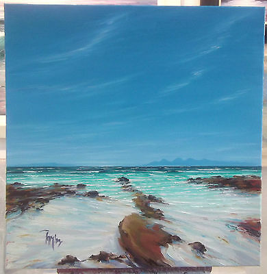 Scottish Oil painting seascape artist Tom Barron 60cm Machrihanish to Jura art