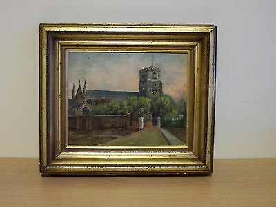 Old Framed Oil Painting, Fulham Church
