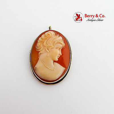 Vintage Carved Shell Cameo Brooch Pendant Sterling Silver