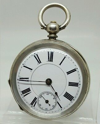 Nice antique solid silver mid size P.B. & co pocket watch c1900 working