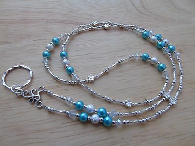 Handmade Beaded Spectacle / Glasses Chain Holder / Necklace. Teal Silver
