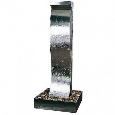 Stainless Steel Water Feature – Large Curved Water Wall – 2 meters tall!