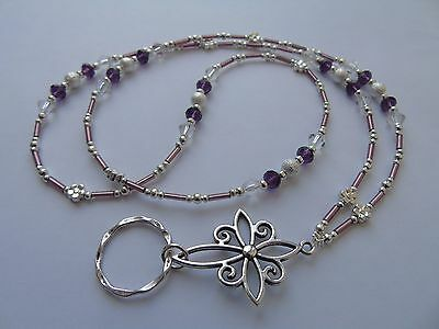 Handmade Beaded Spectacle / Glasses Chain Holder / Necklace. Purple Silver