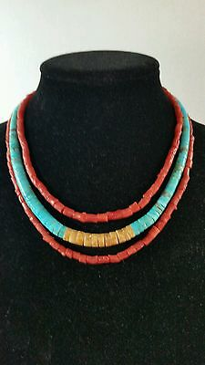 Vintage Navajo Indian Turquoise Heishe and Branch Coral Triple Strand Necklace