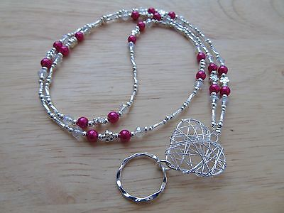 Handmade Beaded Wire Heart Spectacle / Glasses Chain Holder / Necklace. Cerise