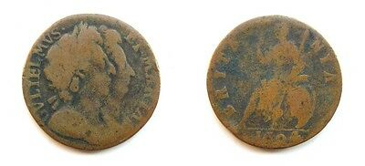 William & Mary 1694 Copper Farthing - Single Exergue Line