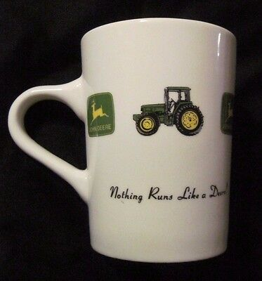 "JOHN DEERE "" Nothing Runs Like A Deere"" Ceramic Mug White Yellow 10 oz EUC"