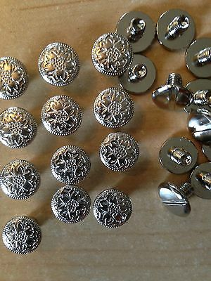 "12 Pa  Floral Nickel Plate Brass Chicago Screws 1/4"" Belts Bridles Hard To Find!"