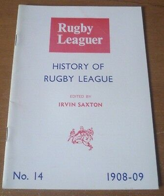 History of Rugby League, 1908-09 (No. 14) - Booklet (24 Pages)