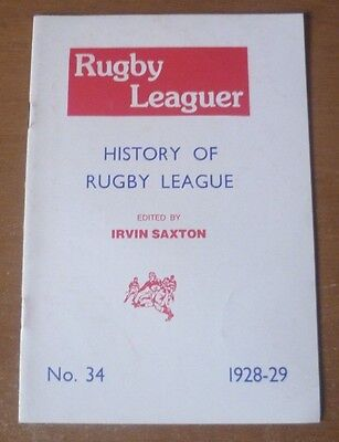 History of Rugby League, 1928-29 (No. 34) - Booklet (16 Pages)
