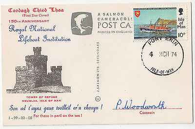 Port Erin   Isle Of Man    Fdc  Postcard  150Th Anniversary  Rnli   Lifeboat