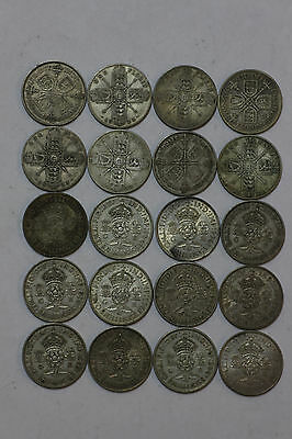 (Roll of 20) Great Britain Silver Florin/Two Shillings, Early/Mid 1900's, G-AU