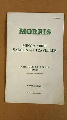 Morris Minor 1000 Saloon and Traveller Schedule of Repair Times AKD 784D 1963