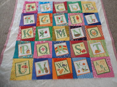 Baby Quilt Top  Multi-Color ABC's  New