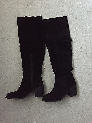 Ladies Suede Thigh High Boots Size 5