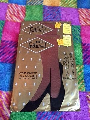 Two Pair of Vintage Textured Lacy Lady Garter Stockings Size 10 1/2 Cinnamon