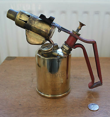 Vintage Primus 632 Brass Blow Torch with Red Handle