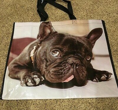 NWOT French Bulldog Frenchie Reusable Shopping Tote Bag Adorable Large