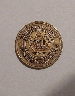 aa alcoholics anonymous bronze 28 year recovery sobriety coin token medallion