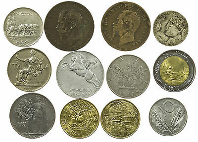 Italy, Good Collection Of 12 Coins, Italia, 1866-1994