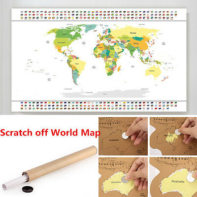 World Map with Flags Scratch off Maps Travel Edition Scratch off  World Map NEW