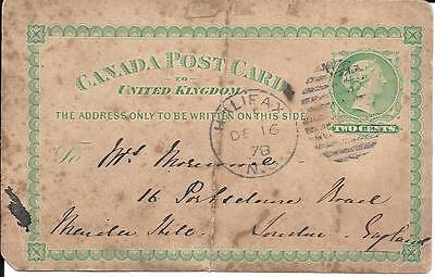 Canada 1878 Post Card To United Kingdom