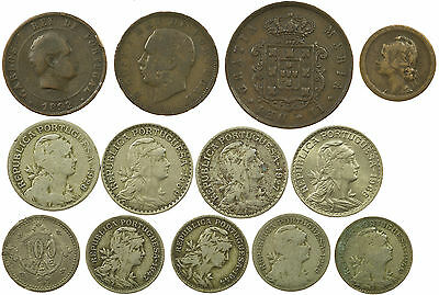 Portugal, Good Collection Of 12 Coins, Portuguesa, 1853-1968