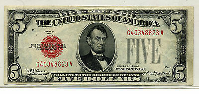 1928C $5.00 United States Note (Legal Tender) Red Seal Xf+/au