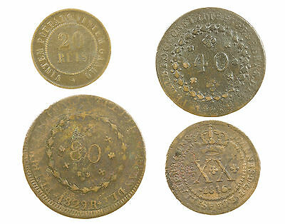 Brazil, Collection Of 4 Coins, Brasil, South America, 1816-1908