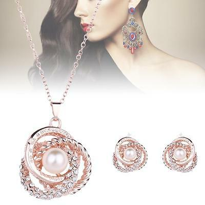 Fashion Charm Jewelry Set Crystal Pearl Pendant Chain Necklace Stud Earrings CB