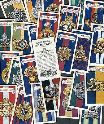 """Phillips Tea 1964 Set Of 25 """"army Badges Past & Present"""" Trade Cards"""