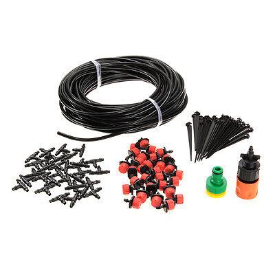 25m Hose 30x Drippers Micro Irrigation Drip System Plant Garden Watering Kit New
