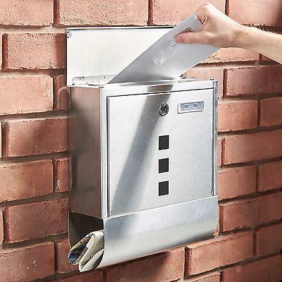 VonHaus Wall Mounted Stainless Steel Mail Post Outdoor Outside Letter Box