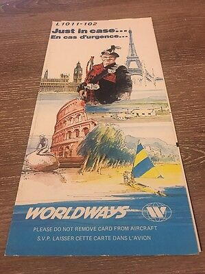 1987 Worldways Canada Airlines L1011-102 Safety Card