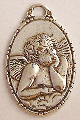 Antique Religious Medal Pendant Sterling Silver / Bronze Dreaming Angel #532