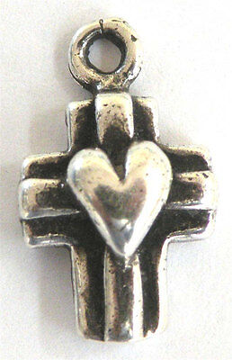 Special Little Cross with Heart Antique Replica Catholic Cross Sterling 1156