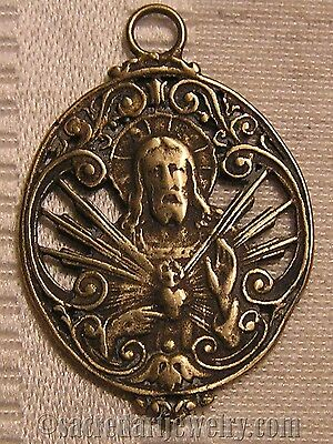 Sacred Heart JHS Antique Replica Medal Pendant Sterling Silver or Bronze #1163