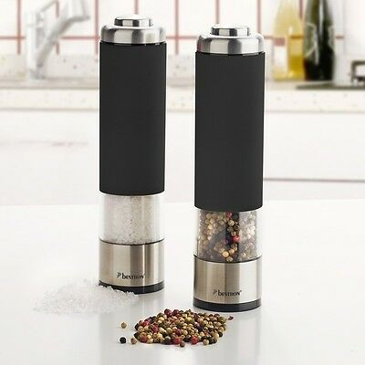 Electric Food Mill 2Pc Salt Pepper Grinder Kitchen Cooking Stainless Steel Black