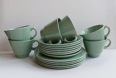 18 pieces of vintage 40's - 50's Woods Beryl Ware Plates cups and Saucers.
