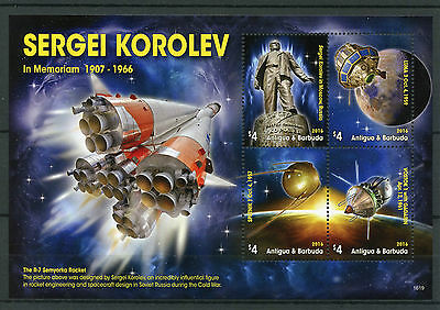 Antigua & Barbuda 2016 MNH Sergei Korolev Vostok Sputnik LUNA 4v MS Space Stamps