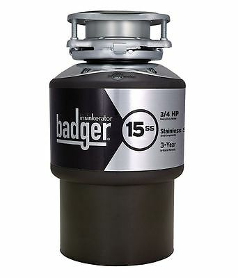 Garbage Disposal, InSinkErator Badger 15Ss 3/4-Hp, Continuous Feed Garbage Waste