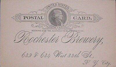 1891+postal card+old brewery+ROCHESTER Brewery+New-York+bohemian beer+bavarian